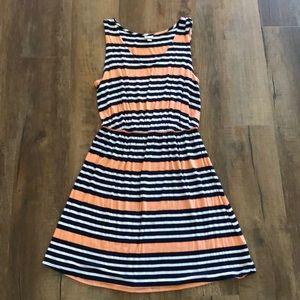 Peach, navy and white sleeveless dress